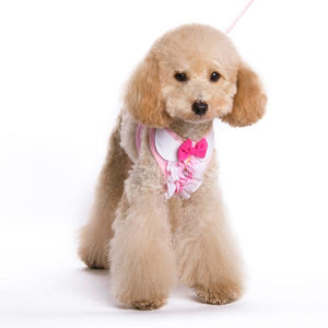 Cute pink ruffle dog harness with rhinestones and a bow tie