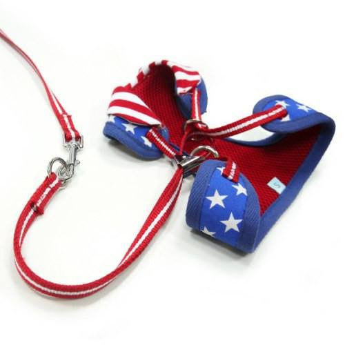 Patriotic dog harness back view.