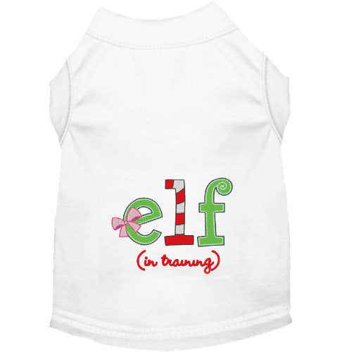 Elf in Training dog shirt with pink bow
