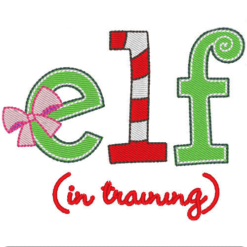 Elf in Training embroidery with pink bow