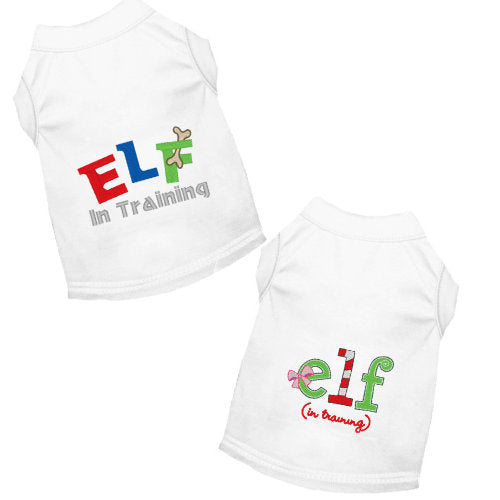 Embroidered dog shirts Elf in Training