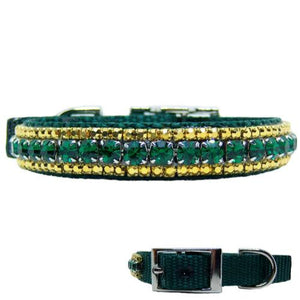 A lovely emerald green and gold crystal jeweled pet collar