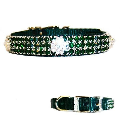 This beautiful crystal dog collar is decorated with emerald crystals and rhinestone flowers.