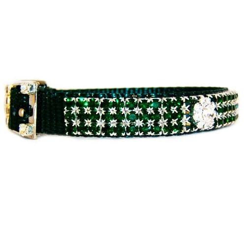 Emerald elegance crystal pet collar side view.