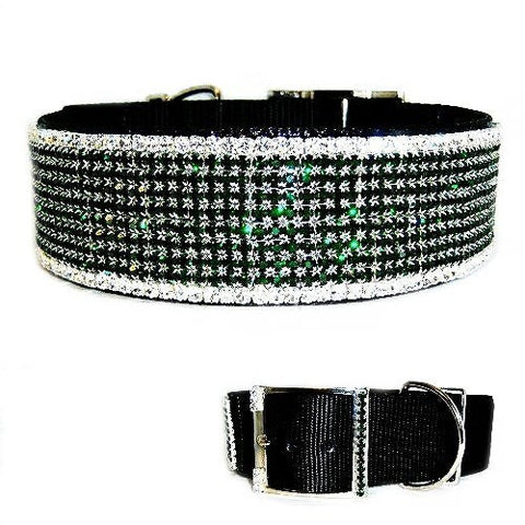 This beautiful large dog collar is filled with emerald and diamond clear crystals.