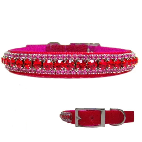 Eye Candy Velvet Crystal Collar with Free Charm - For dogs and cats - dog-collar-fancy