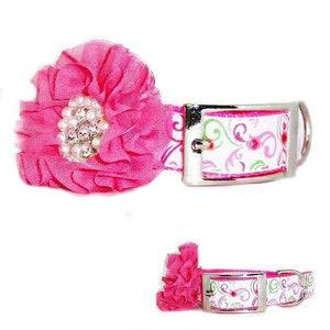 Fancy Flower Pet Collar in Pink - For medium to large dogs - dog-collar-fancy