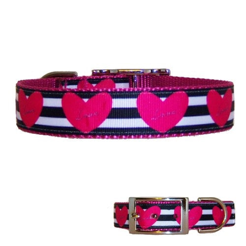 An adorable hearts and black and white striped pet collar for dogs and cats.