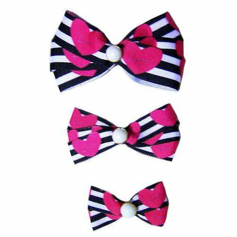 This fancy stripes and hearts printed dog hair bow is perfect for Valentine's Day or anytime.