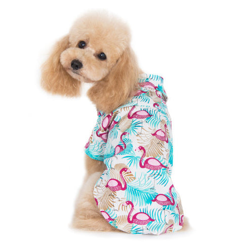 Adorable pink flamingo dog shirt model dog