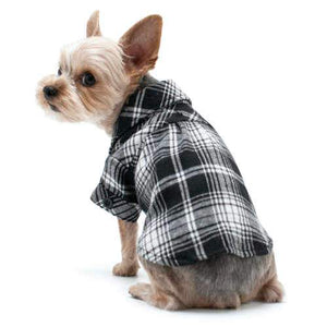 Black and White Plaid Flannel Dog Shirt