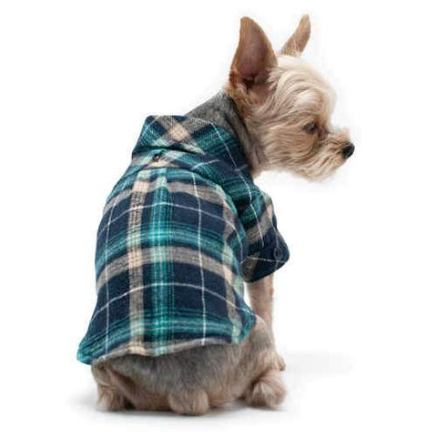 Blue Plaid Flannel Dog Shirt