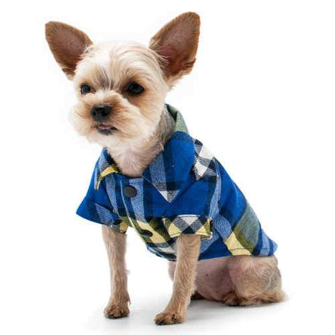 Blue and Yellow Plaid Flannel Dog Shirt