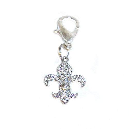Large Fleur Di Lis Crystal Dog Charm - pet charm - dog-collar-fancy