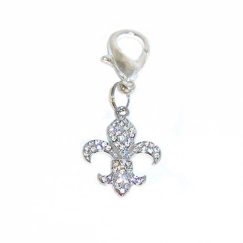 Large Fleur Di Lis Crystal Dog Charm - dog-collar-fancy