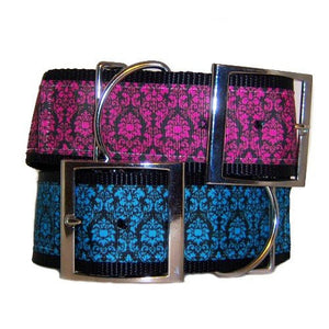 A large 2 inch dog collar with floral design in your choice of colors.