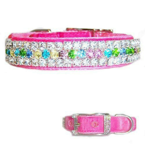 This pastel pink diamond look velvet pet collar will make all girl dogs jealous!