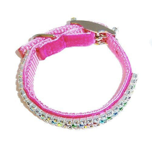 Floral diamonds pet collar side view.