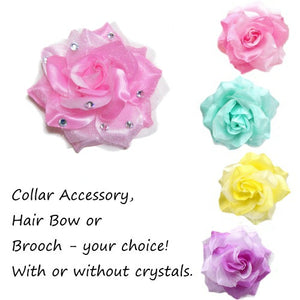 Flower accessory for people and pets in 4 different color choices.