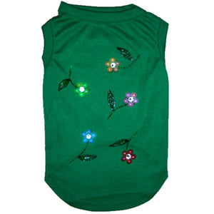 Green dog shirt with crystals and pearl flowers hand painted