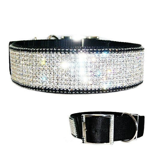 A very fancy 2 inch large dog formal collar designer style with clear and black crystals.