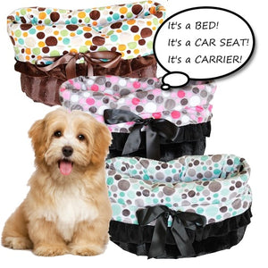 Pet bed, car seat, pet carrier in polka dot prints.