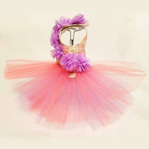 Sweet Floral Garden dog dress with tutu skirt.