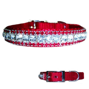 Beautiful red pet collar with clear and red crystals perfect for Christmas and Valentines Day.