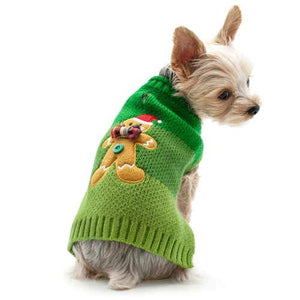 Christmas Gingerbread Man Dog Sweater