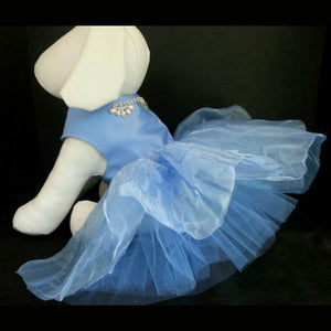 Fancy Glitter Blue Dog Dress - Tiny to large dogs - dog-collar-fancy
