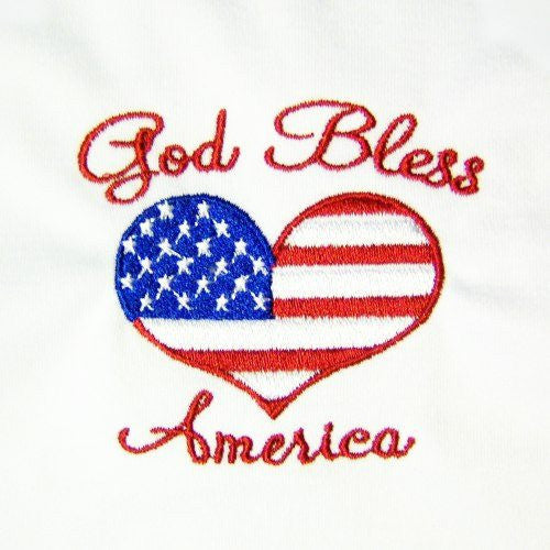 An embroidered dog shirt with God Bless America and a heart shaped American flag.