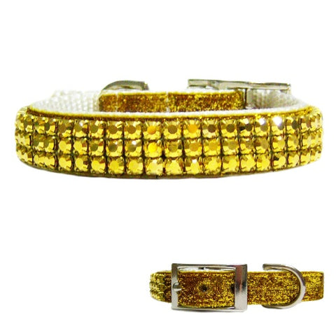 Sparkly gold crystal pet collar with sparkle ribbon and gold crystals.