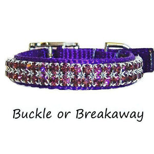 A cute purple pet nylon pet collar with amethyst crystals.