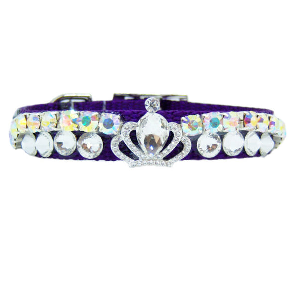 Purple crystal pet collar clear and aurora borealis crystals