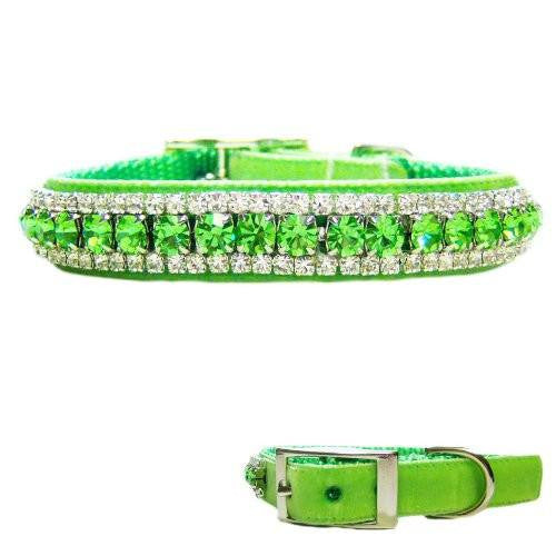 A lime green crystal collar that sparkles like crazy.