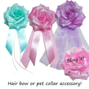 A cute rose flower dog accessory in your choice of colors.
