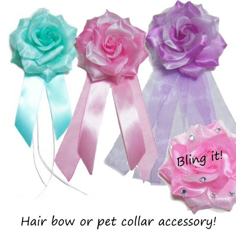Flower Pet Accessory with Tails - dog-collar-fancy