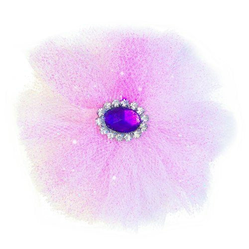 A sparkly pink dog poof hair bow with rhinestone purple centerpiece.