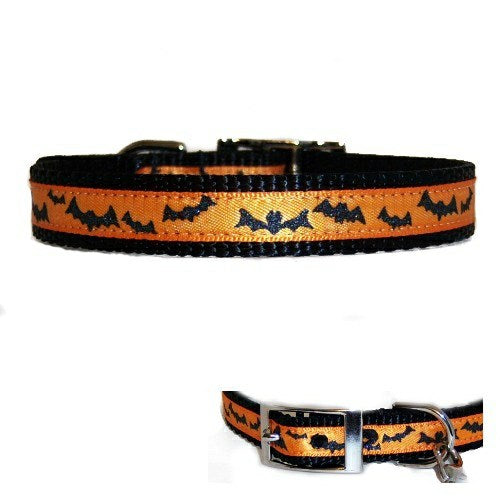 Metallic Halloween Bats Pet Collar - For dogs and cats - dog-collar-fancy