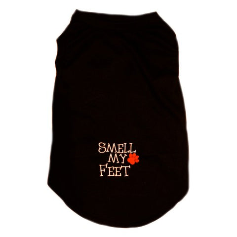 A Halloween dog shirt with Smell My Feet embroidery with paw print.