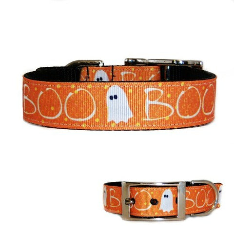 BOO Halloween Dog Collar - dog-collar-fancy