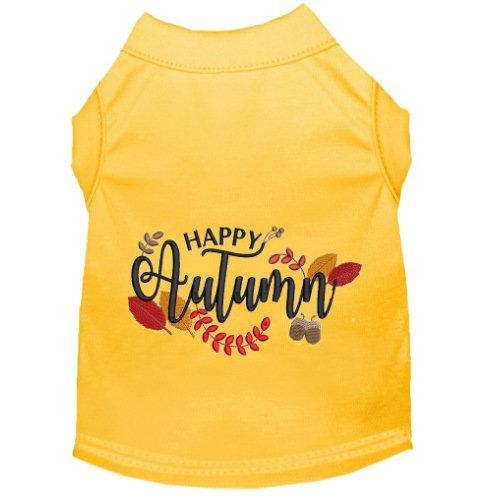 Happy Autumn dog shirt with leaves embroidered