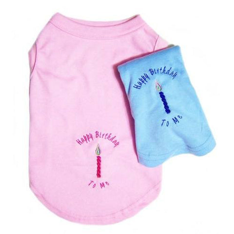 Birthday dog shirts with embroidered birthday candles for girl or boy dogs.