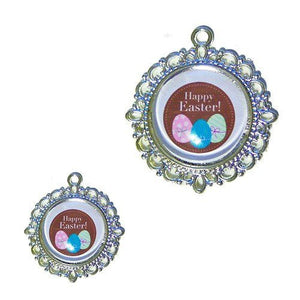 Easter Dog Tag Happy Easter with Eggs - pet charm - dog-collar-fancy