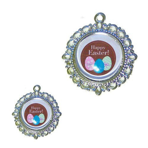 A cute Happy Easter dog tag with images of colorful Easter eggs.