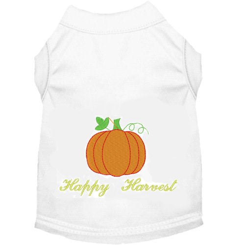 Happy Harvest Dog Shirt embroidered.