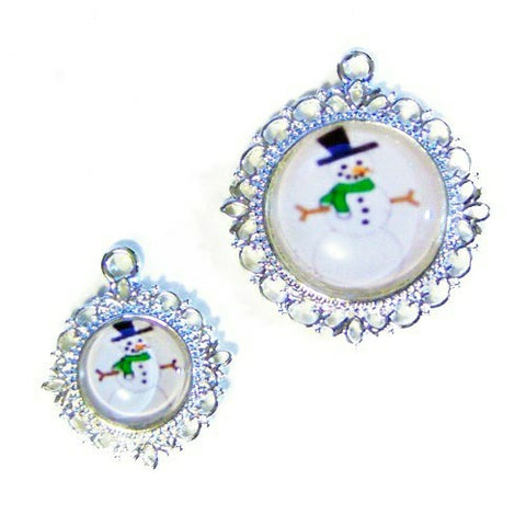 A cute Christmas pet collar charm with a snowman with hat and scarf.
