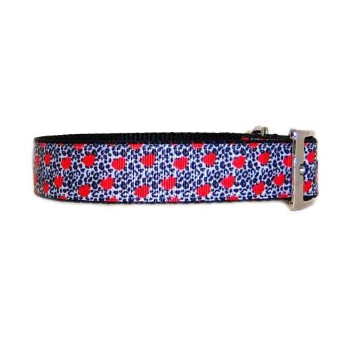 Animal print and red hearts pet collar.