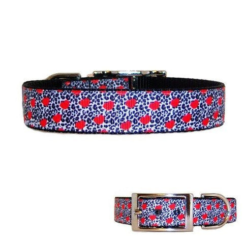 An animal print with red hearts print decorative pet collar.
