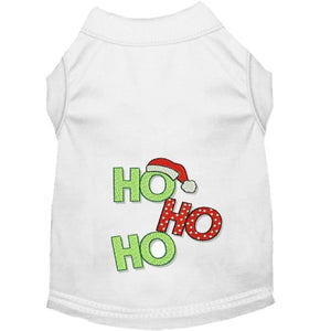Merry Christmas Ho Ho Ho embroidered dog shirt.